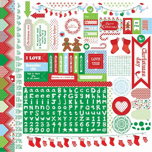 "Kaisercraft 12""x12"" sheet decorative stickers.  Santa's List"