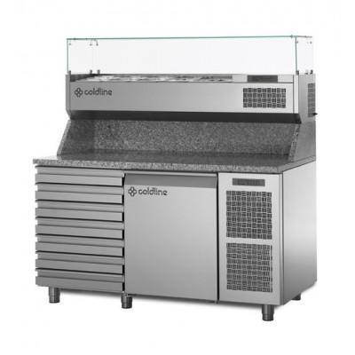 Coldline Refrigerated Pizza Prep Counter with Granite Worktop TZ09/1MC-VP | The Pizza Oven Store