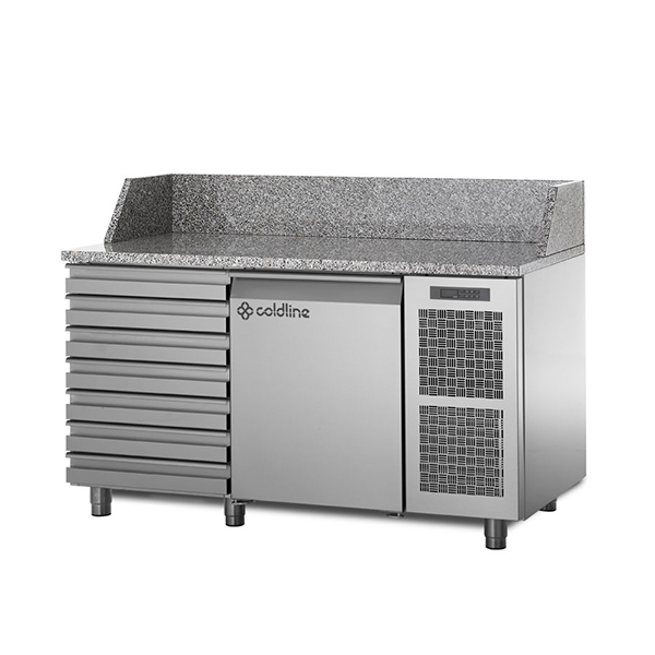 Coldline Refrigerated Pizza Preparation Counter with Granite Worktop TZ09/1MC | The Pizza Oven Store