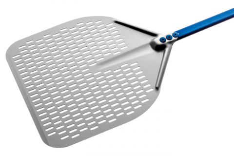 Gi.Metal A-32RF/120 Linea Azzurra Aluminium Perforated Pizza Peel | The Pizza Oven Store