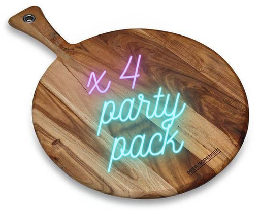 Peer Sorensen Acacia Round Pizza Serving Board 41 cm Party Pack (4 Pack) | The Pizza Oven Store