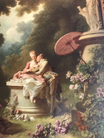 Regency painting with pink parasol and lovers