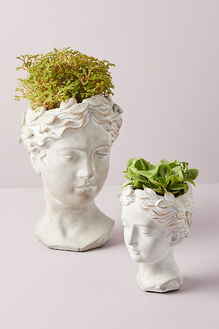 Anthropologie planters in the shape of heads