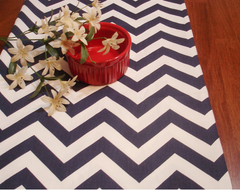 The Pillow CO Etsy navy chevron table runner