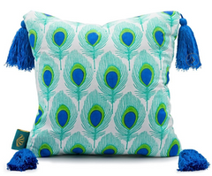 East London Parasol Company Green and blue peacock cushion