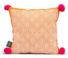 East London Parasol Company Orange and pink peacock pom pom cushion