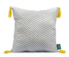 Grey zigzag and yellow tassel cushion