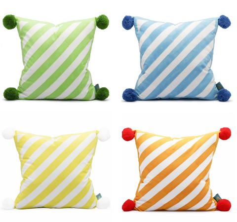 Pom Pom Cushions in green, blue, yellow and orange