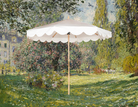 Holly Octagonal parasol against an Claud monet impressionist painting