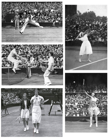 Vintage Wimbledon photos of tennis players in black and white