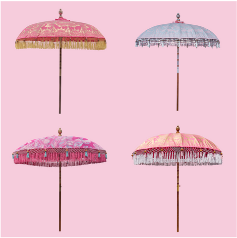 Pink Round Bamboo Parasols that are still in stock for our August delivery