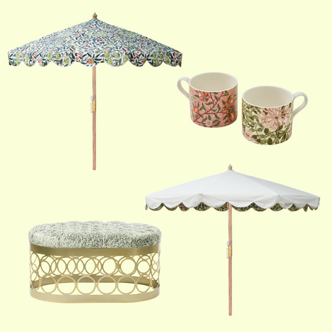 William Morris print home accessories as well as parasols