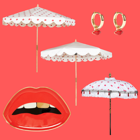 Iain with lip print parasols and red lip accessories