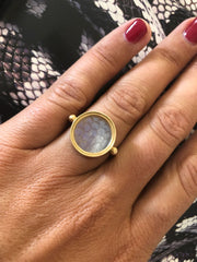 Ouroboros ring gold and snake gemstone
