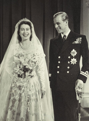 The Queen on her wedding day with Prince Phillip
