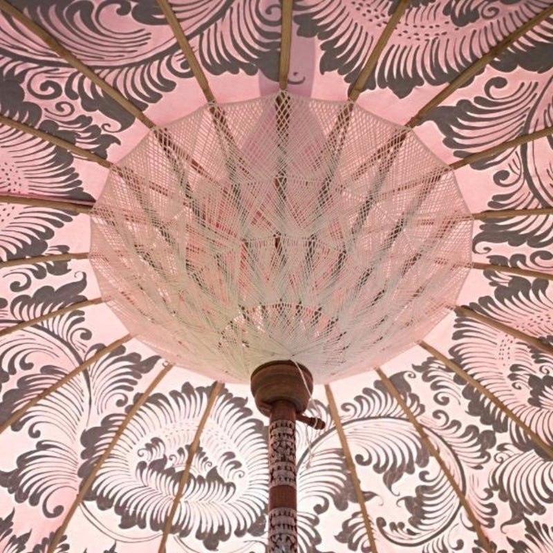 Stevie parasol parasol pale pink silver cream white and white with indian fringes and bali parasol for east london parasol company