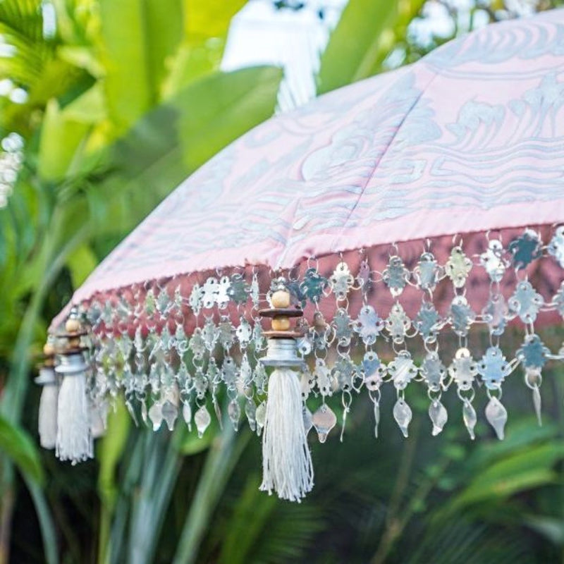 Stevie parasol pale pink silver and white with indian fringes and bali parasol for east london parasol company