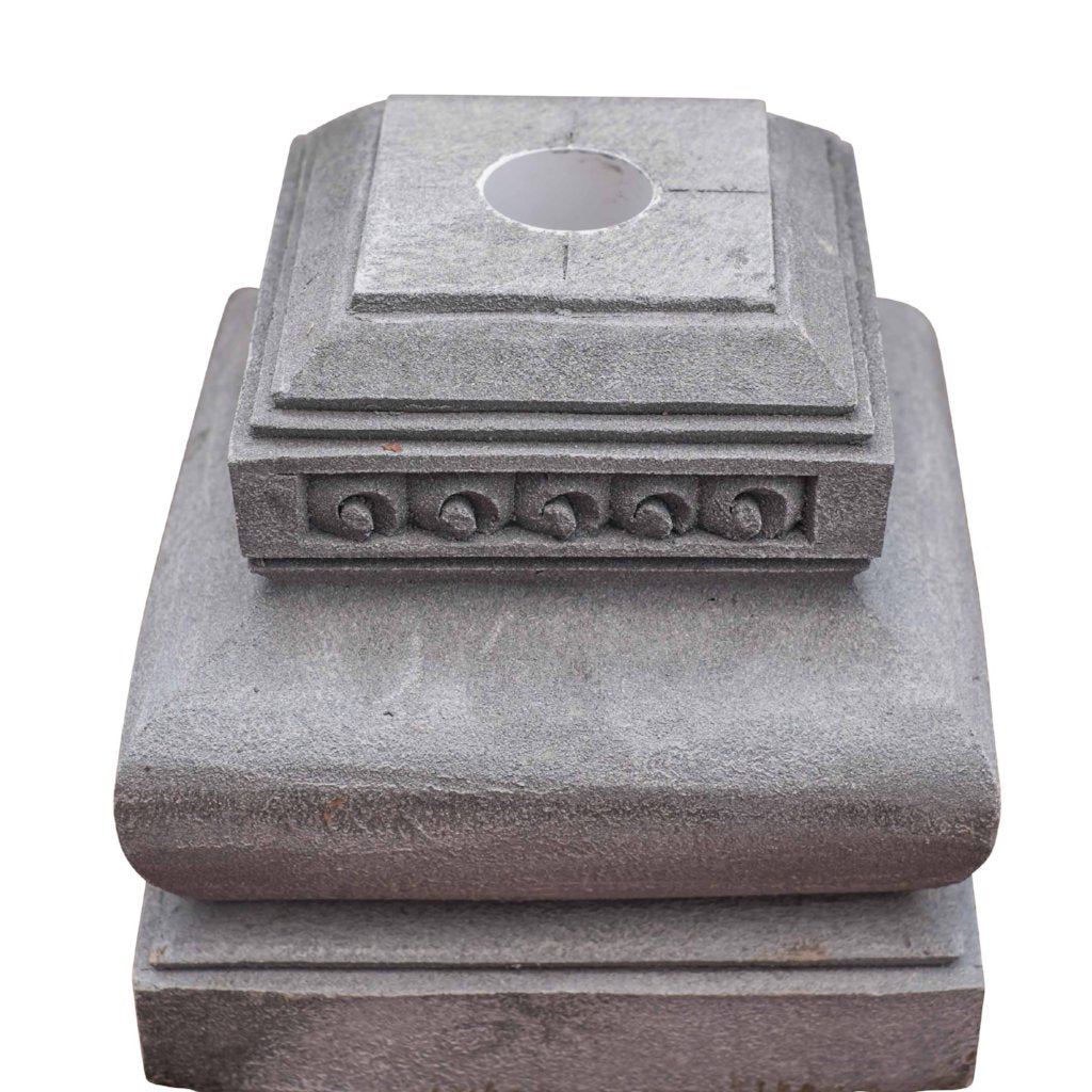 Decorative carved stone Lava garden umbrella stand East London Parasol Company