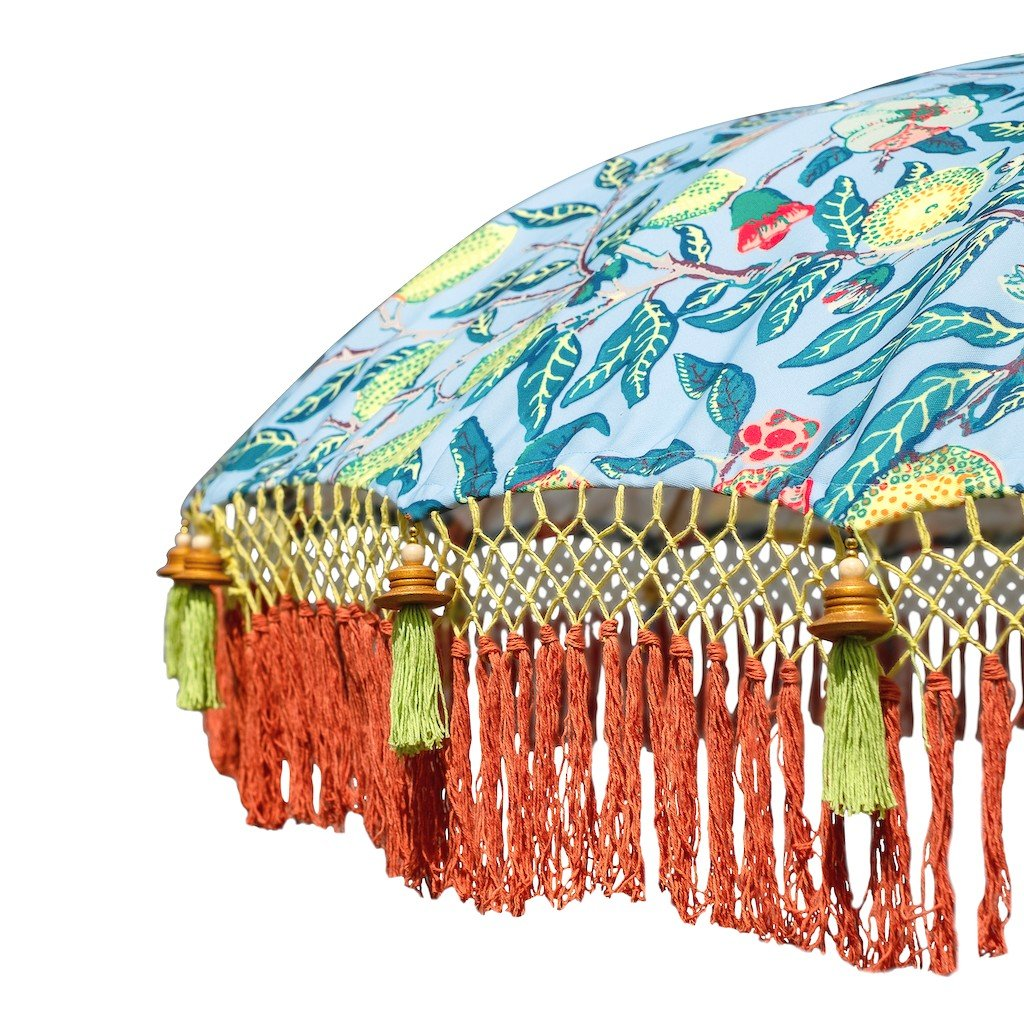 East London Parasol Company Bali Bamboo 2m garden umbrella. William Morris pattern. Handmade with fringing and tassels in shades of orange and green