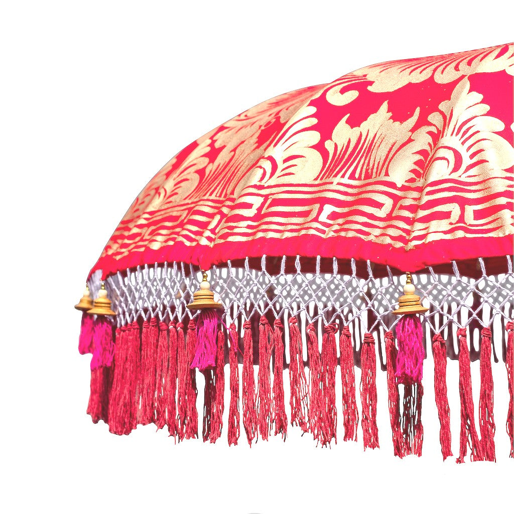East London Parasol Company Bali Bamboo 2m garden umbrella. Olivia- red and gold. Handmade and handpainted with fringing and tassels in shades of red