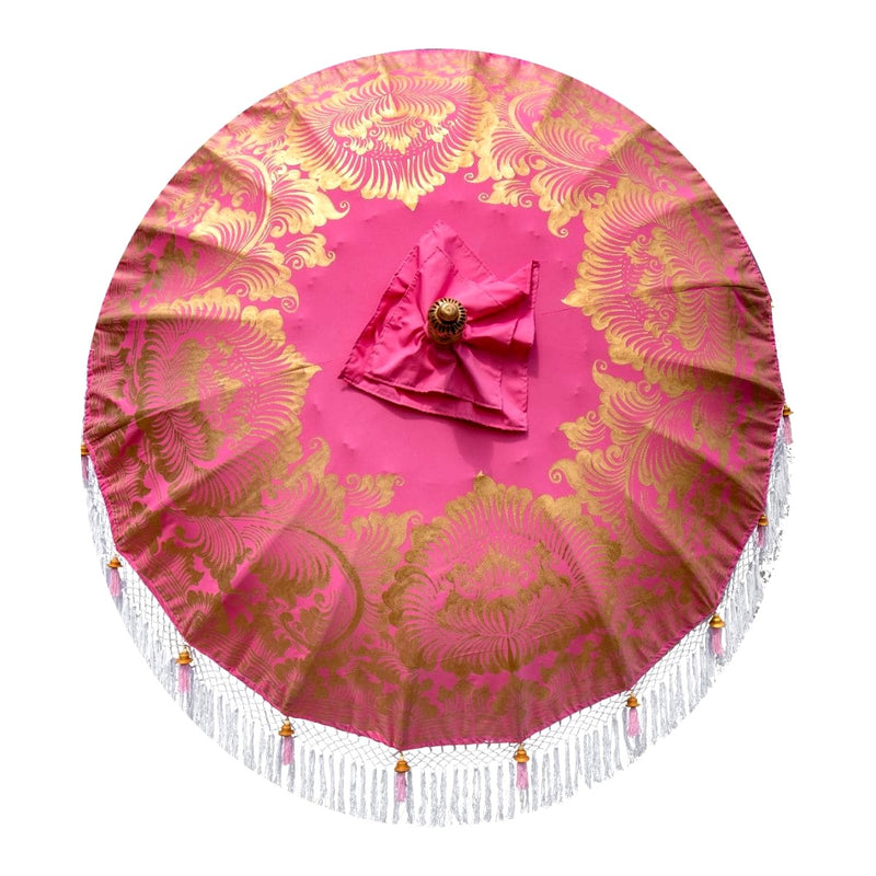 East London Parasol Comapny Heidi- pink, white and gold Bali garden parasol. Handpainted with fringing, pretty, colourful and luxurious garden decoration for a pretty summer garden.
