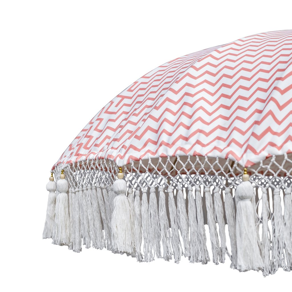 East London Parasol Company Bali Bamboo 2m garden umbrella. Printed coral zig zags. t. Handmade with fringing and tassels in shades of white