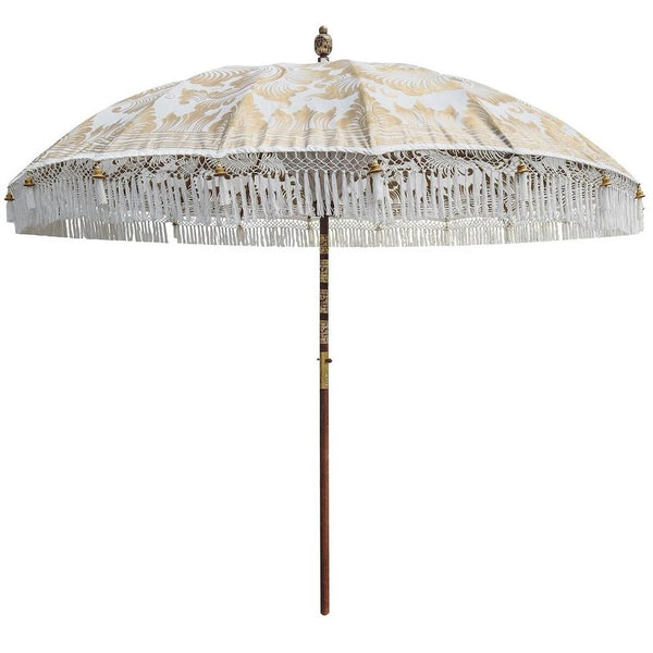 Big simone East London Parasol 3m Bali parasol white and gold hand painted with tassels