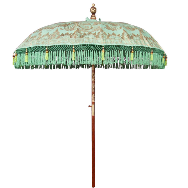 Gold, green and turquoise bali garden parasol. Handmade beautfiful colourful garden parasol made by East London Parasol Company. The most pretty parasol for a summer party or wedding.