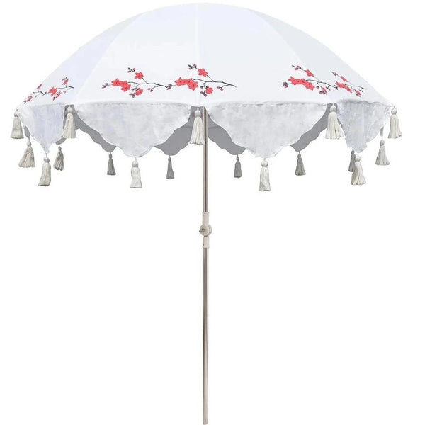 Michelle parasol East London Parasol Company red flower and white block print garden umbrella. Beautiful handmade luxury garden accessories elegant garden umbrella