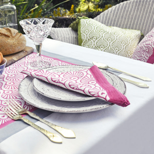 Pink peacock block print cotton napkins East London Parasol Company