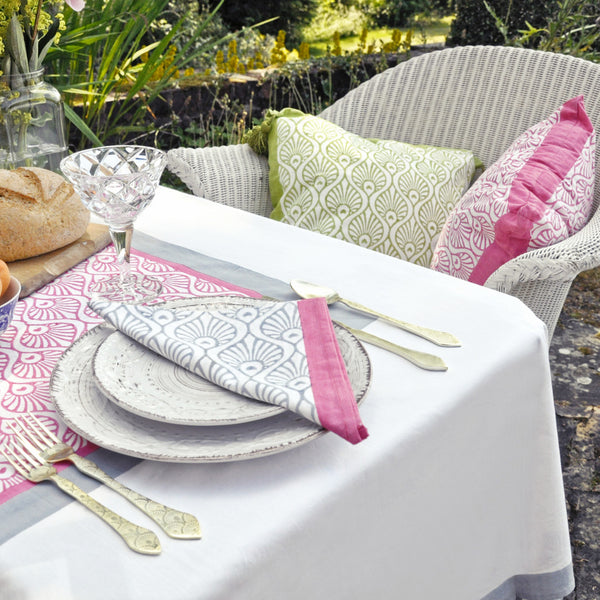 Grey PInk peacock blockprint tablecloth napkin Indian cotton East London Parasol Company
