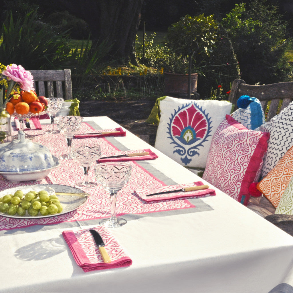 Pink and grey block print tablecloth and napkin. Indian cotton East London Parasol Company