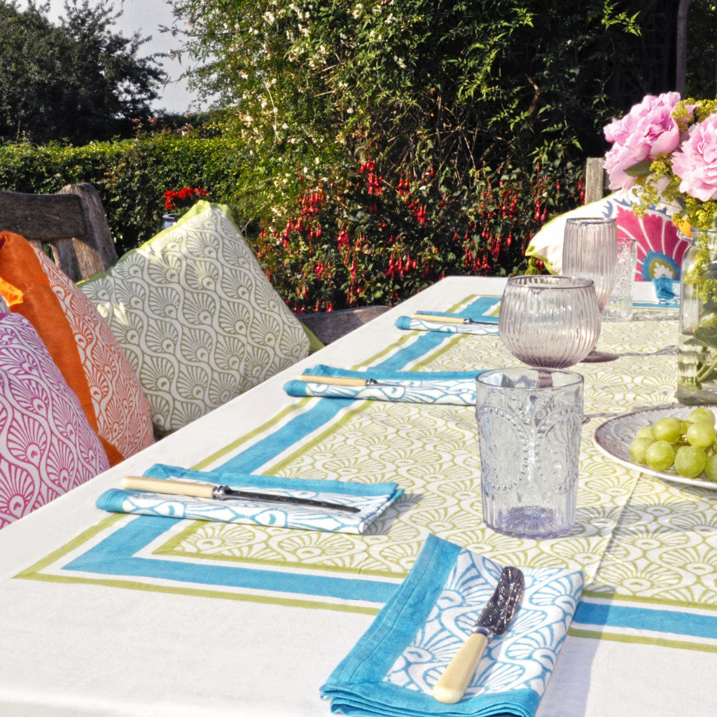 Pink Block Print Tablecloth; Green And Turquoise Peacock Balinese  Blockprint Tablecloth Napkin Indian Cotton East London Parasol Company ...