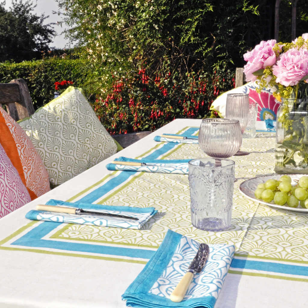 turquoise balinese peacock blockprint tablecloth napkin Indian cotton East London Parasol Company