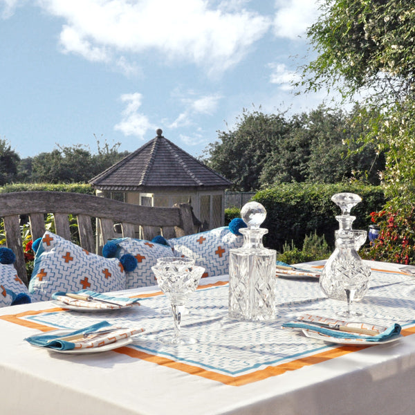 orange and turquoise blockprint tablecloth napkin Indian cotton East London Parasol Company