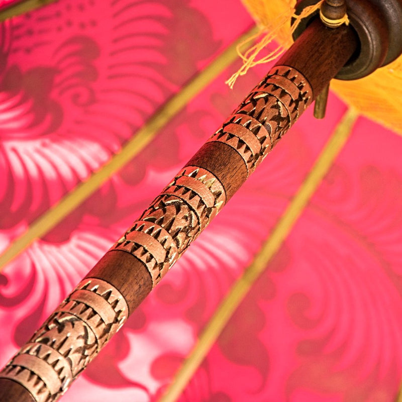 whitney parasol pink yellow orange gold balinese umbrella east london parasol company