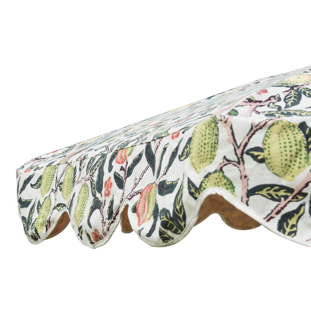 Big Bill East London Parasol Company- 3m William Morris print luxury garden umbrella with scalloped edges. Perfect show stopping beautiful umbrella for an elegant garden or pool. Intricately printed and a gorgeous wooden frame, the ultimate in gorgeous garden decoration. The most beautiful summer accessory for a party, dining table, wedding and sunlounger.