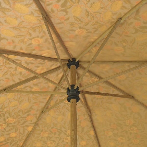 BIg William Morris pattern garden umbrella or parasol with scallop edges by East London Parasol Co