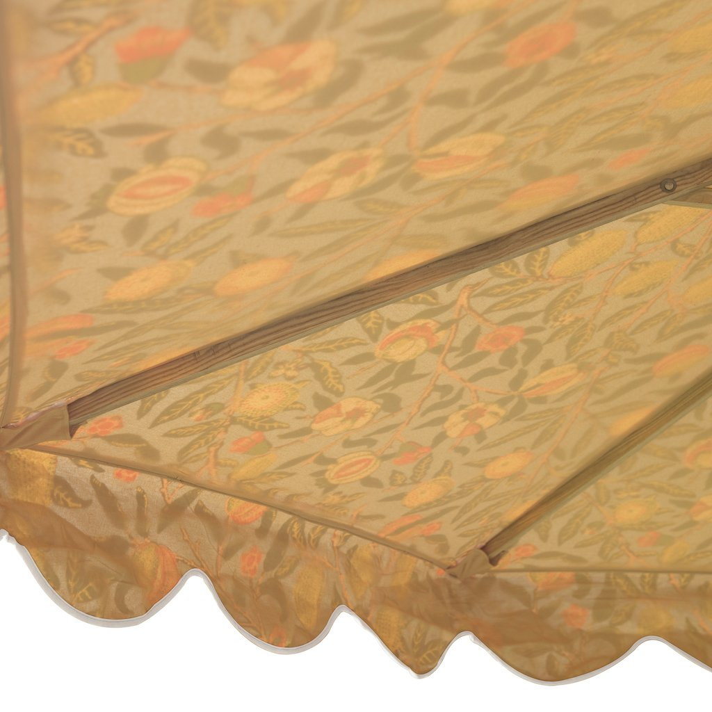 Big William- 3m William Morris blue floral print luxury garden umbrella with scalloped edges. Perfect show stopping beautiful umbrella for an elegant garden or pool. Intricately printed and a gorgeous wooden frame, the ultimate in gorgeous garden decoration. The most beautiful summer accessory for a party, dining table, wedding and sunlounger. In the 2020 Liberty print trend.