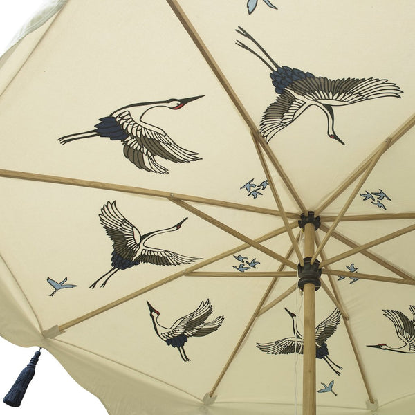 Big Lexi parasol- beautiful 3 meter waterproof  pretty and decorative cream wooden garden umbrella with flying birds and navy indigo tassels.