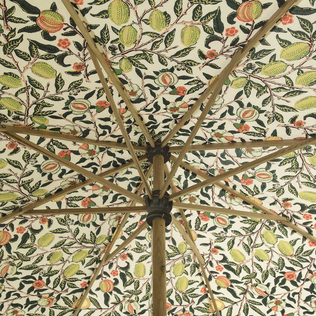 Big Bill II East London Parasol Company- 3m William Morris print luxury garden umbrella with scalloped edges. Perfect show stopping beautiful umbrella for an elegant garden or pool. Intricately printed and a gorgeous wooden frame, the ultimate in gorgeous garden decoration. The most beautiful summer accessory for a party, dining table, wedding and sunlounger.
