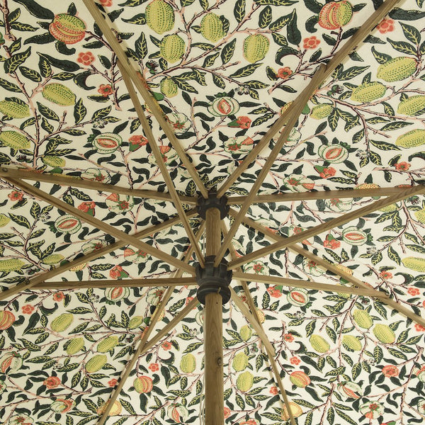 BIg Bill William Morris pattern garden umbrella or parasol with scallop edges by East London Parasol Co