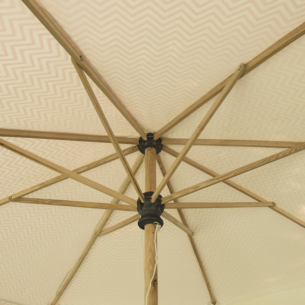Big Pink aretha 3meter wooden garden umbrella, beautiful pink parasol with chevrons and tassels
