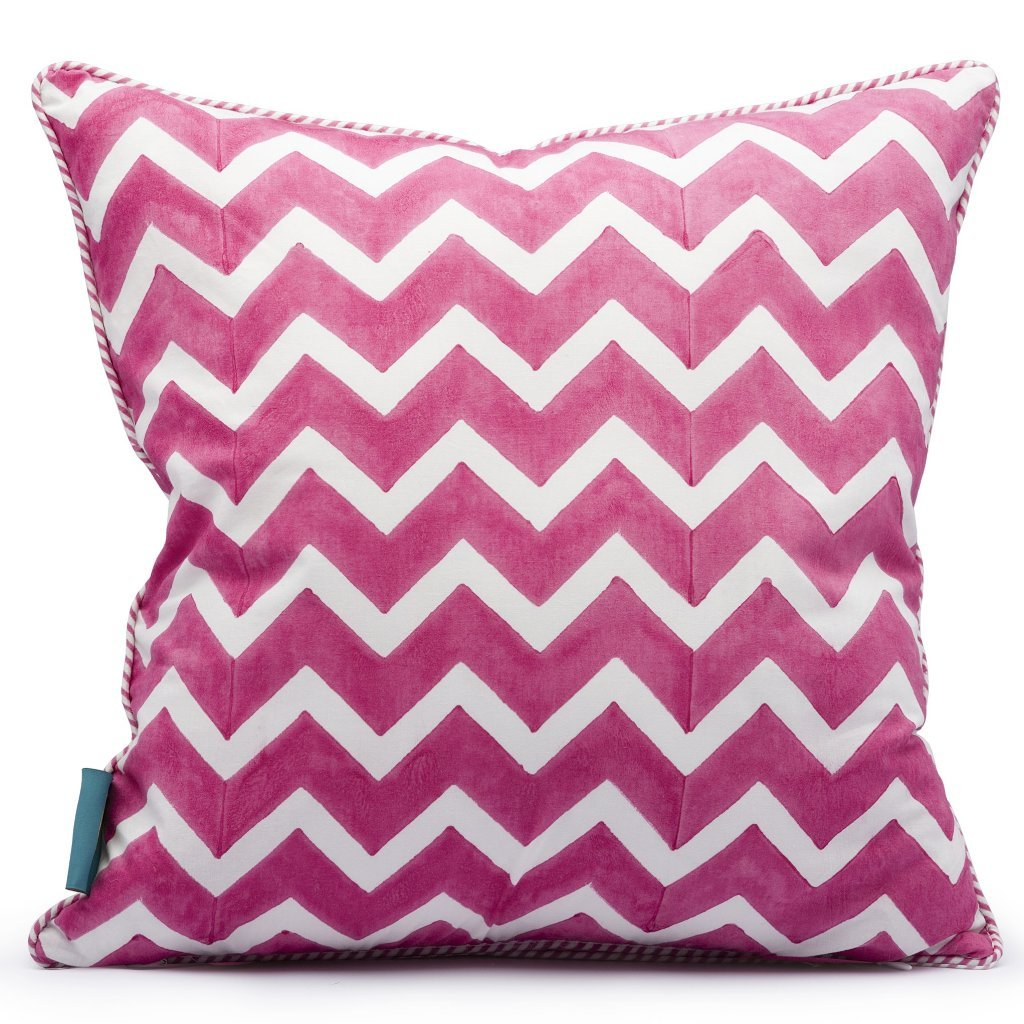 East London Parasol Company pink parrot and zig zag block print cushion