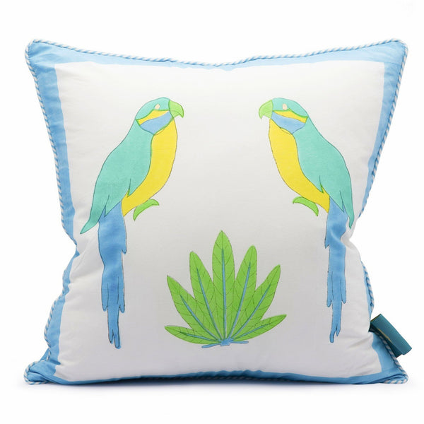 East London Parasol Company blue parrot and zig zag block print cushion