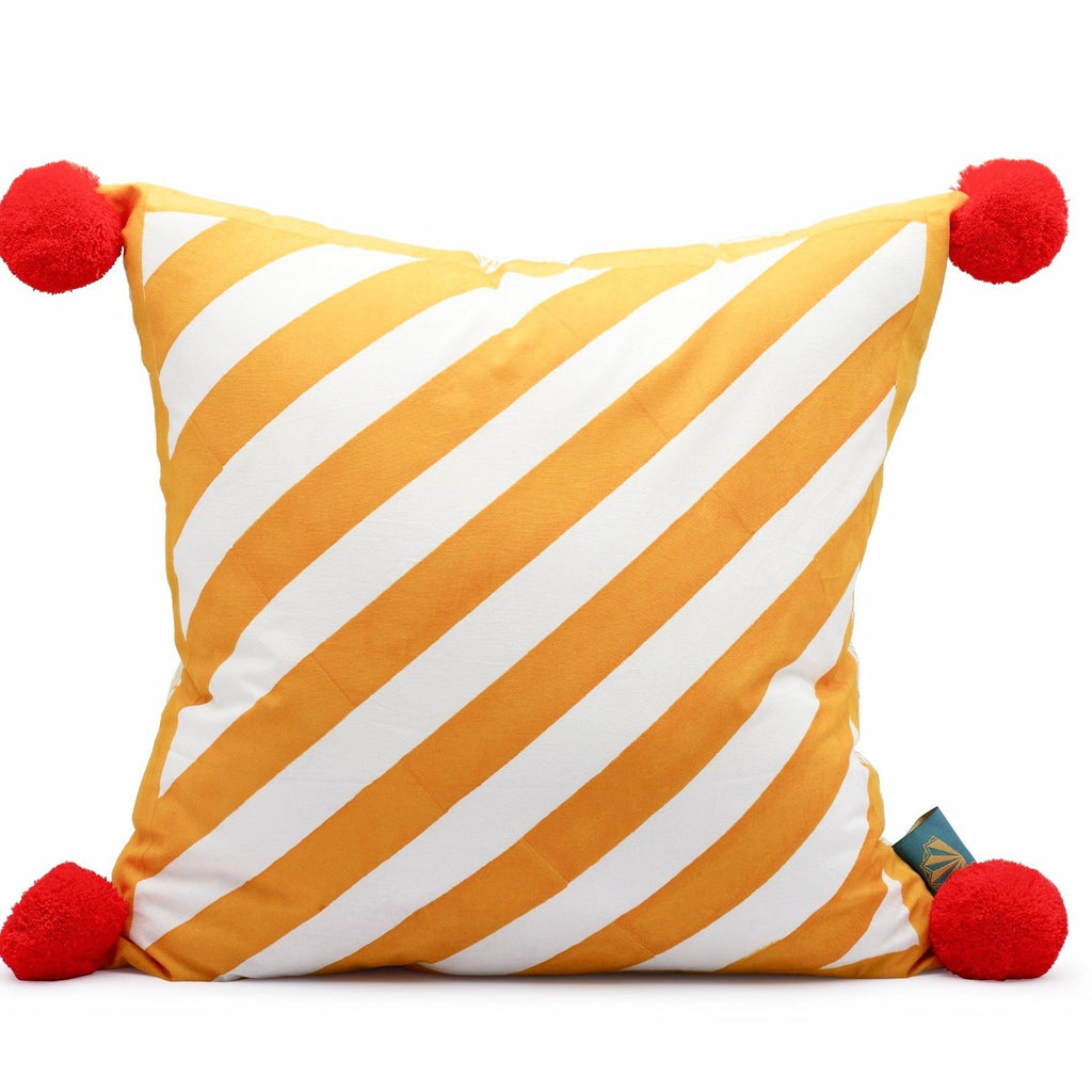 Rainbow, beautiful pink, orange, yellow, green summer cushions. Colourful garden cushions in stripes with pom poms, handmade in India. The perfect house and garden decoration for the summer and perfectly matching our garden parasols, umbrellas and accessories.