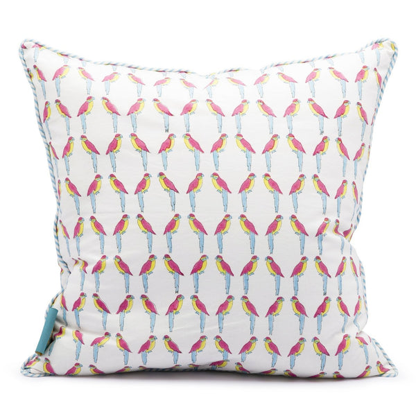 East London Parasol Company mini parrot print cushion with striped piping. Colourful garden cushions for fabulous summer decor.