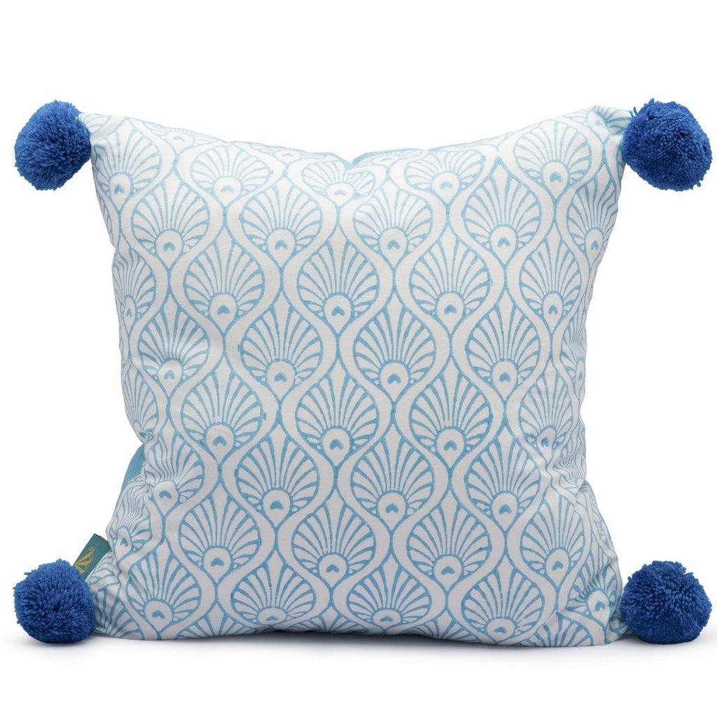 East London Parasol Company blue block print pom pom cushion. Peacock and stripe pattern.