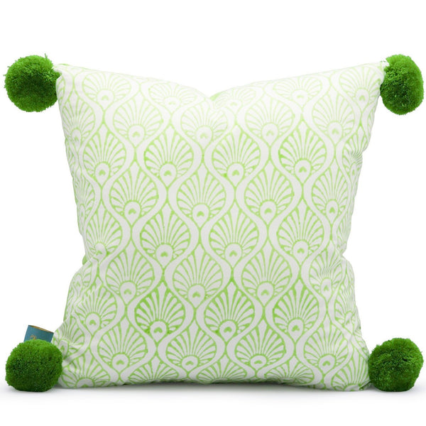 High quality cotton cushions hand block-printed in India. East London Parasol Company apple green block print pom pom cushion. Peacock and stripe pattern. Rainbow garden cushions, colourful beautiful garden decorations to match our parasols.