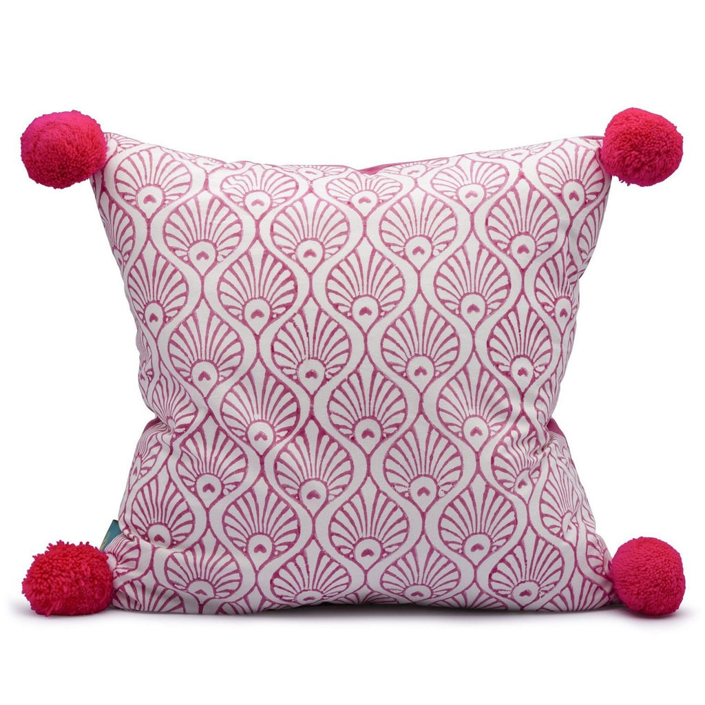 East London Parasol Company pink block print pom pom cushion. Peacock and stripe pattern.